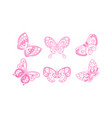 flying butterflies collection beautiful pink vector image vector image
