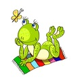 frog on the beach towel vector image