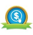Gold dollar click logo vector image vector image