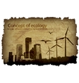 grungy old paper with a big city and windmills vector image vector image