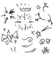 hand drawn set elements doodle with black line vector image vector image