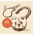 Hand drawn sketch vintage lock and key banner vector image vector image