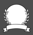 laurel wreath black and white photo frame on black vector image vector image