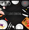 love cooking realistic background vector image vector image