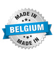 made in Belgium silver badge with blue ribbon vector image vector image