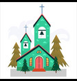 merry christmas and happy new year card church vector image vector image