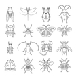 outline insects icons set vector image