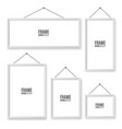 realistic hanging on a wall white blank picture vector image vector image