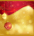 Red golden Christmas background with baubles vector image vector image