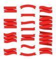 red ribbon flat banners set premium decorative vector image vector image