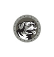 Rottweiler Guard Dog Head Metallic Circle Retro vector image vector image