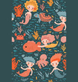 seamless pattern with cute mermaids vector image