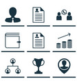 set of 9 hr icons includes manager employee vector image vector image