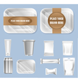 set of food trail and white polyethylene vector image vector image