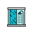 shower cabin bathroom flat color line icon vector image vector image