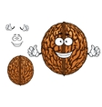Smiling happy whole walnut character vector image