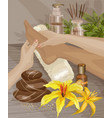 spa foot massage hands doing foot massage vector image vector image
