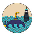 submarine lifebuoy ocean nautical vector image