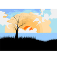 Sunset with landscape cartoon scene vector image vector image