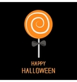 Sweet candy lollipop with spiral Black bow Happy vector image vector image