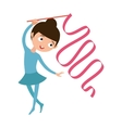 Teenager doing gymnastics dance with ribbon little vector image