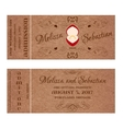 Ticket for Wedding Invitation with wedding golden vector image