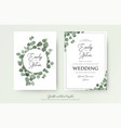 wedding floral watercolor style double invite card vector image vector image
