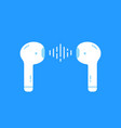 wireless earbuds isolated on blue vector image vector image