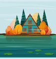wooden a-frame haus at lakeside vector image vector image