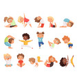 yoga kids children making exercises in different vector image vector image