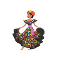 young beautiful mexican woman in black traditional vector image
