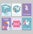 baby shower invitations cards with stork vector image
