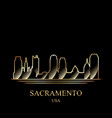 gold silhouette of sacramento on black background vector image