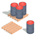 isometric icons of barrels of oil on a vector image