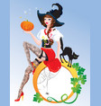 Brunette Pin Up Halloween Girl wearing witch suit vector image