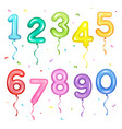 set of colorful number shaped vector image