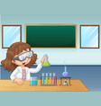 a laboratory girl in classroom vector image vector image