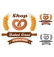 Bakery shop emblem or logo with pretzel vector image vector image