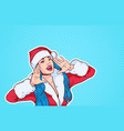 beautiful girl wear santa costume screaming merry vector image