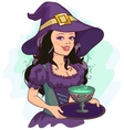 Beautiful girl witch holds potion cup on a tray vector image vector image