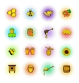 Beekeeping icons set comics style vector image vector image
