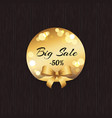 big sale -50 off golden label with round elements vector image