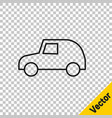black line toy car icon isolated on transparent vector image vector image