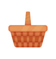 brown wicker basket for picnic or harvesting vector image