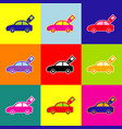 car sign with tag pop-art style colorful vector image vector image