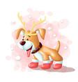 cartoon cute dog merry christmas eskimo vector image vector image