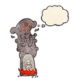 cartoon haunted grave with thought bubble vector image vector image