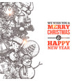 christmas card with in sketch style and typography vector image vector image