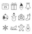 christmas icons set flat vector image vector image