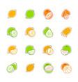 citrus fruits icons - lemon orange and pomelo vector image vector image